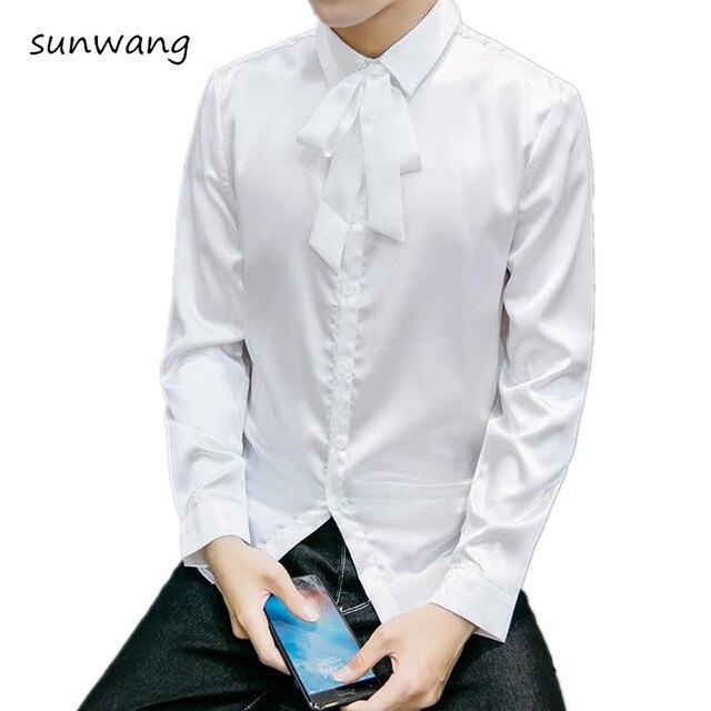 2017 fashion mens sleeve silk shirts lace bow tie