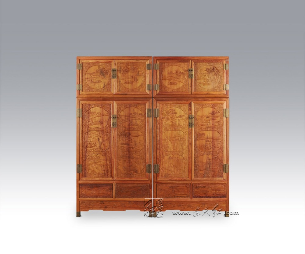 New Modern Solid Wood Bed Room Cabinet Rosewood Wardrobe Top Grade Home Carving Furniture Padauk Garderobe Annatto Closet Retro