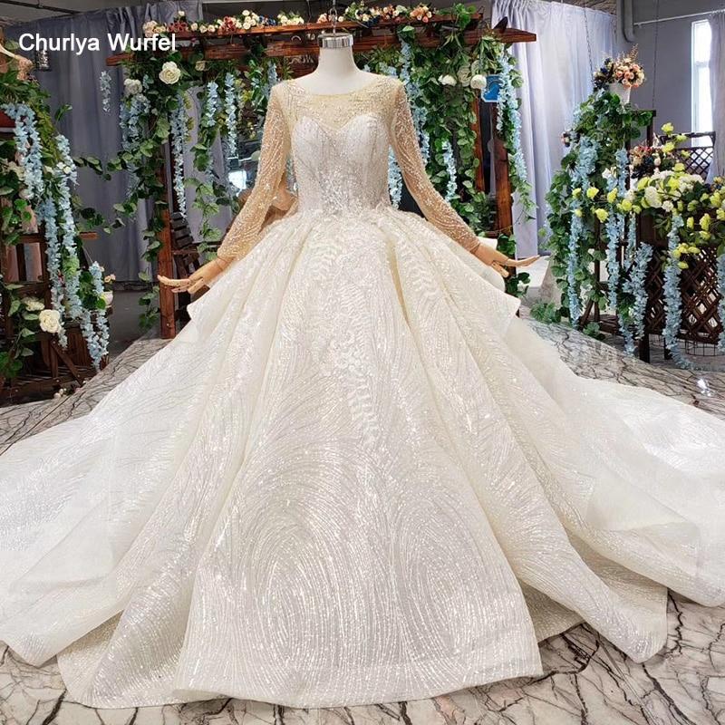 HTL165G Ball Gown Wedding Dress With Train O Neck Long Sleeves Lace Bride Dress Real Price Vestido De Noiva Princesa Com Brilho