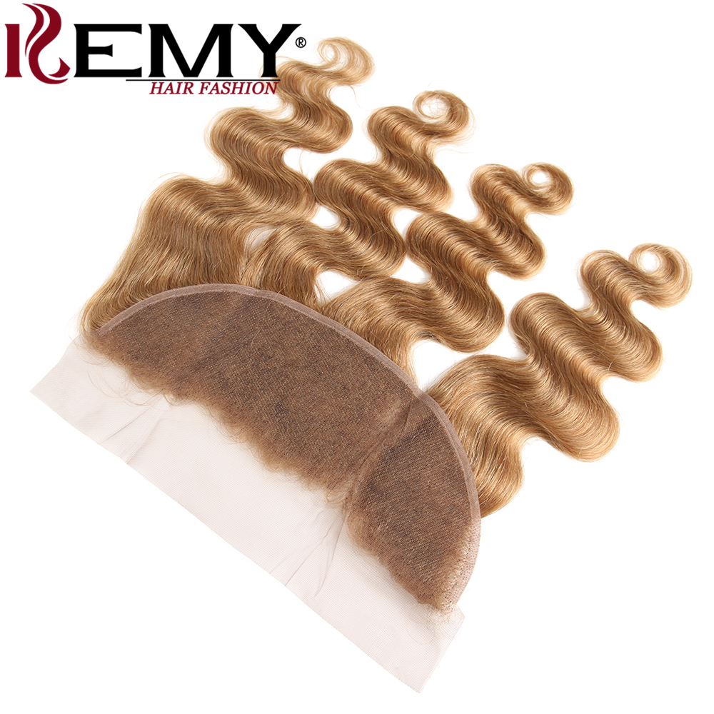 KEMY HAIR Pre-Colored 100% Human Hair Weaves Light Brown 27# 3Pcs Brazilian Body Wave 13*4 Lace Frontal With Bundles Non-Remy