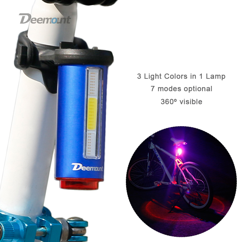 Deemount Hot New Bicycle Tail Light 3 Colors in 1 Lamp LED COB Visual Warning Bike Rear Lantern 100LM 850aAH Rechargeable цена