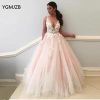 Long Elegant Evening Dress 2018 V Neck 3D Flowers Lace Appliques Pink Prom Dress Women Formal Pary Evening Gowns Robe De Soiree