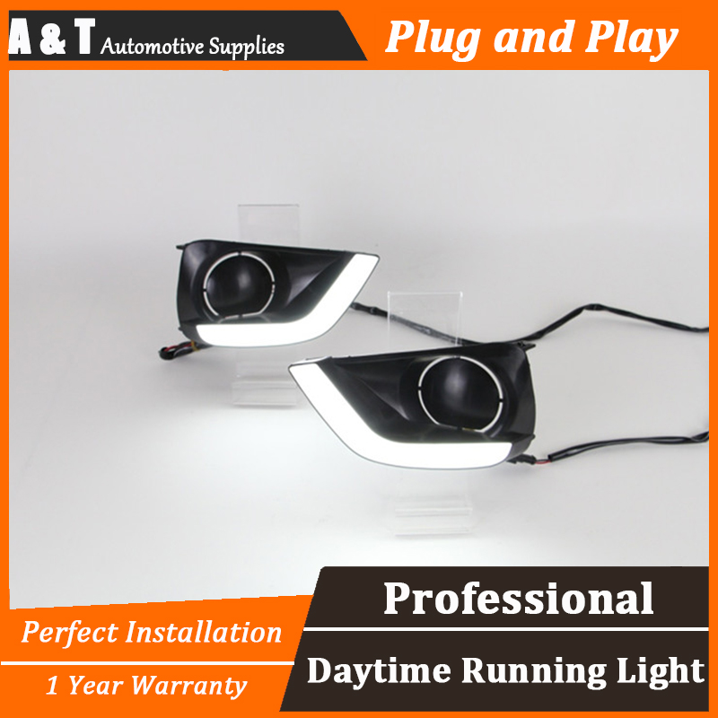 A&T car styling For Toyota Vios LED DRL For Vios led fog lamps daytime running light High brightness guide LED DRL Light guide for lexus rx gyl1 ggl15 agl10 450h awd 350 awd 2008 2013 car styling led fog lights high brightness fog lamps 1set