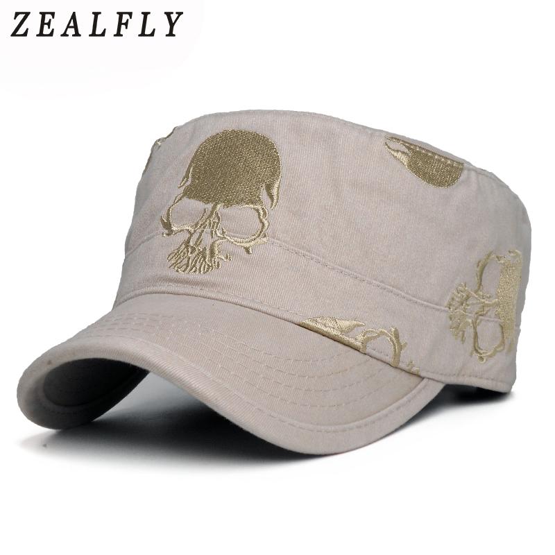 a6677ec607ae8 Bordado cráneo logotipo tapa plana Men S deportes al aire libre gorra de  béisbol 100% algodón Vintage plana superior sombreros equipados mujer marca  hueso