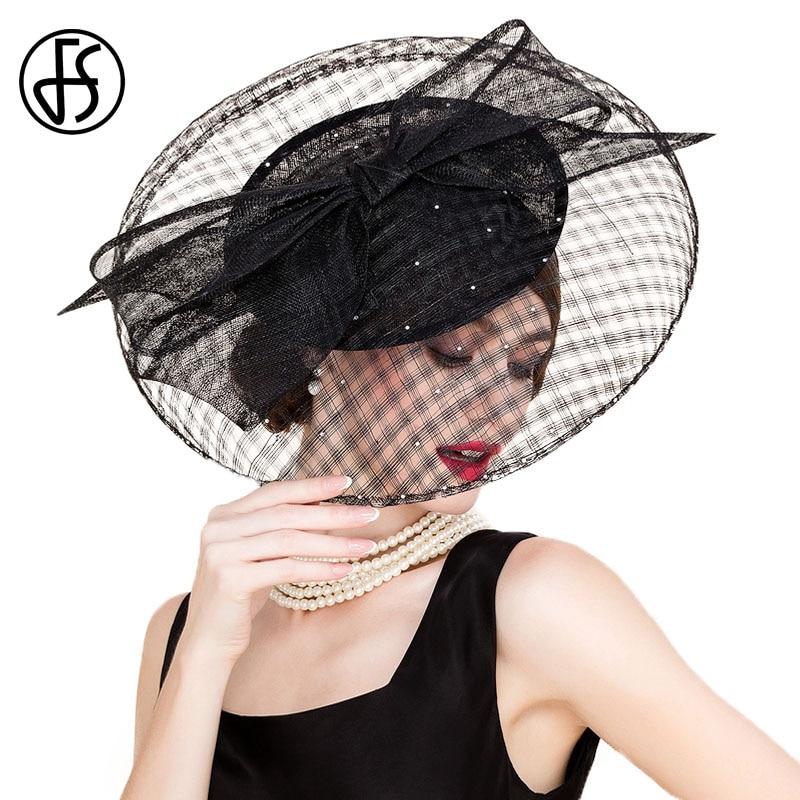 FS Black Sinamay Vintage Hats For Women Philippines Large Brim Wedding Dress Hat Fascinator Ladies Kentucky