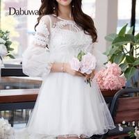 Dabuwawa Lantern Sleeve White Lace Dress Vintage Elegant High Waist Dress Tulle Short Dress Sobretudo Feminino #D16CDR076