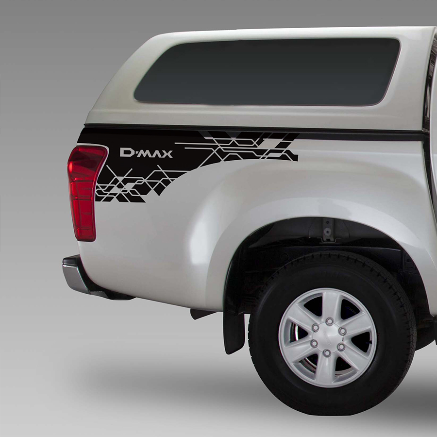 free shipping 2 PC rear trunk side d-max stripe graphic Vinyl car sticker for isuzu d-max 2012