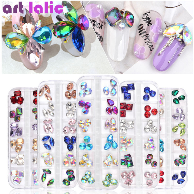 520b78bad2 US $1.97 |1 Box Multi Size Glass Nail Rhinestones Mixed Colors Sharp back  Crystal Strass 3D Charm Gems DIY Manicure Nail Art Decorations-in ...