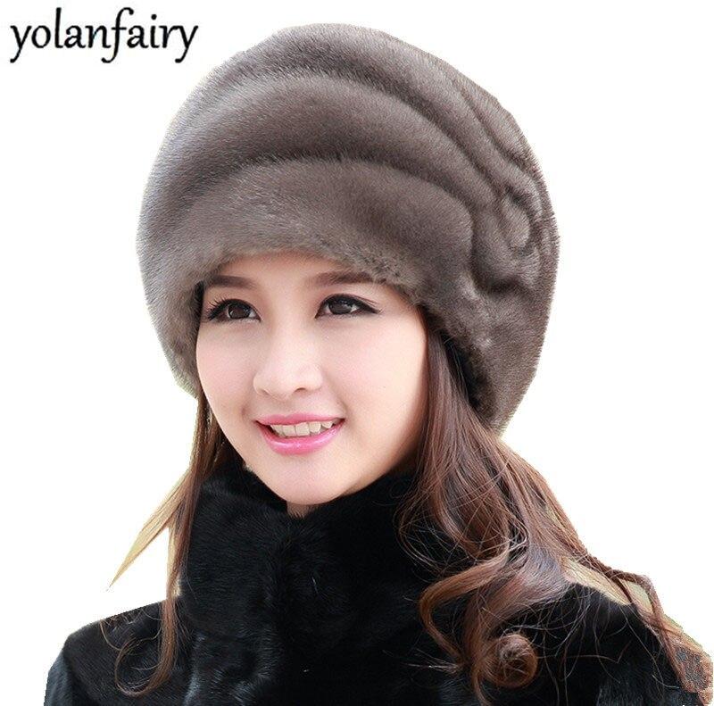 8442e4eb001d Gorro de piel Natural para mujer, sombrero de piel de visón puro auténtico,  sombreros de Invierno ...