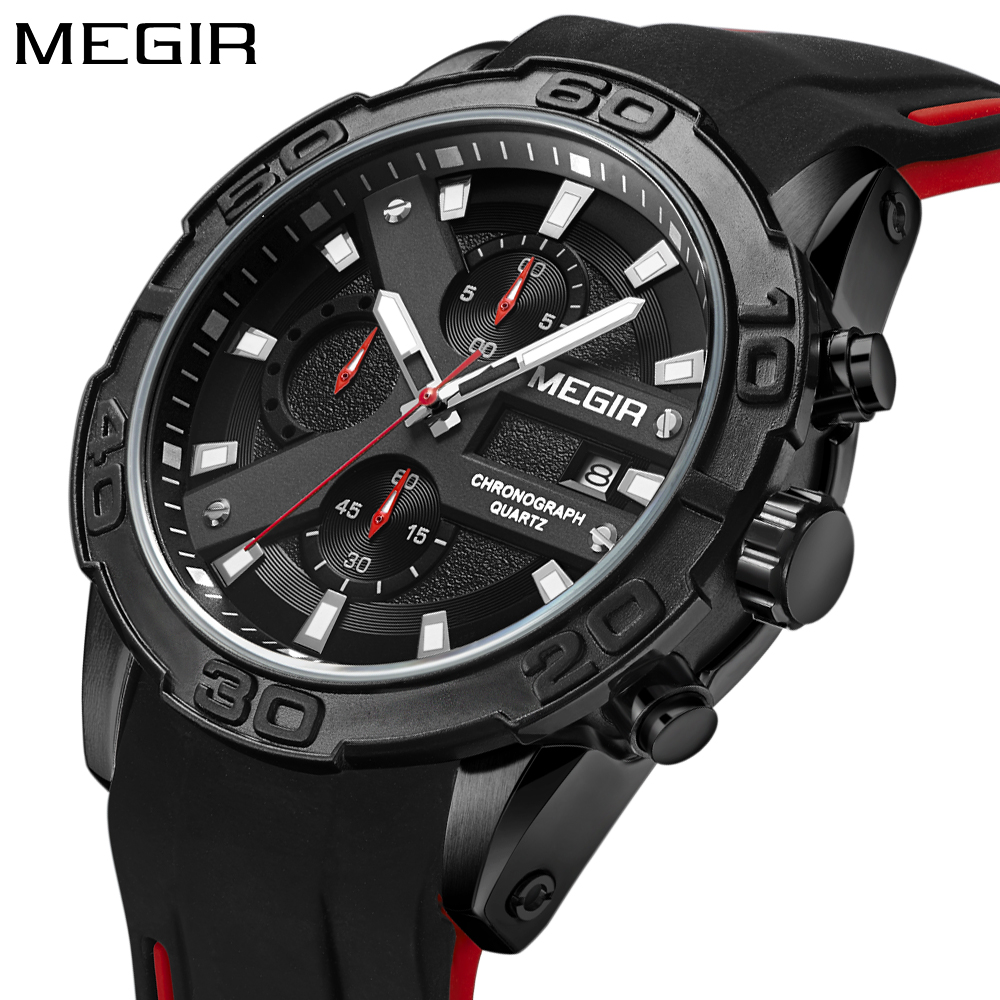 MEGIR Top Märke Luxury Sport Watch Män Silicone Quartz Watch Army - Herrklockor