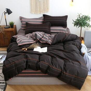 Arwen Bedding Set Black Orange Stripe