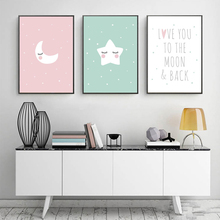 New Cartoon Moon Canvas Painting Art Poster Wall No Picture Frame Baby Room Decoration Love You Stars and Back XY
