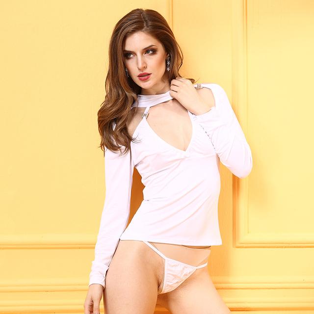 Lingery Sexy Maid Mujeres Sexy Lencería Sexy Lencería Erótica Vestido de Arco Sin Respaldo Blanco de La Gasa Lenceria Baby Doll