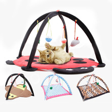 Pet Cat Toys Cartoon Tent Hammock Bed House Activity Play Game Center with Hanging Toy Balls Soft Mat For Kitten