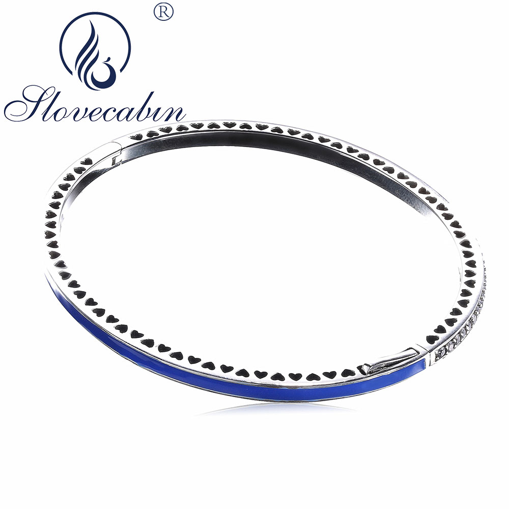 Slovecabin Authentic 925 Sterling Silver Radiant Love Hearts Bracelets Bangles For Women Femme High Quality Silver 925 Jewelry