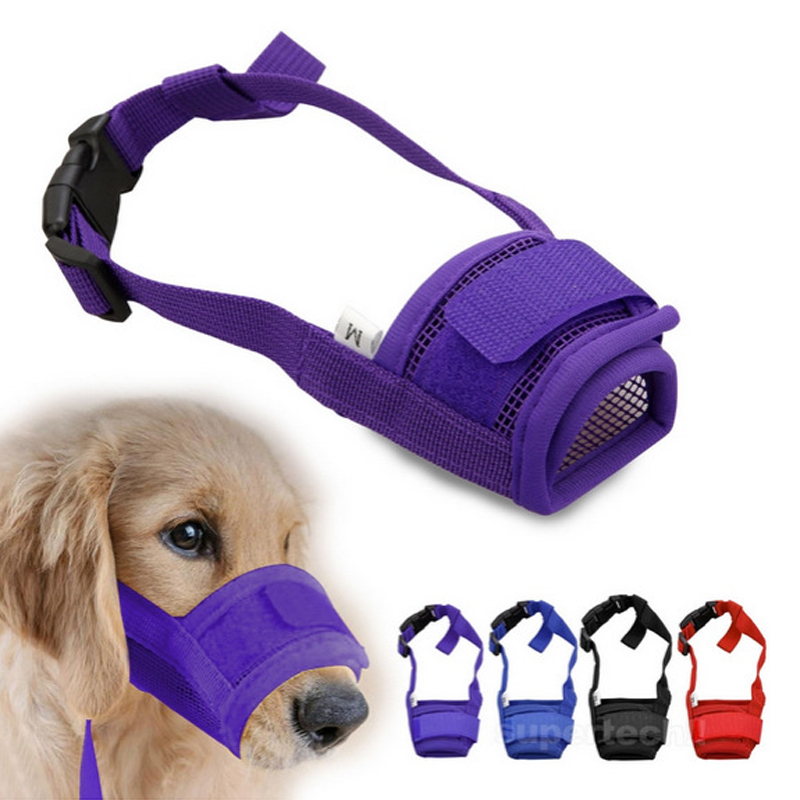 Hot Pet Dog Justerbar Mask Bark Bite Mesh Mouth Noss Grooming Anti Stop Tuggning