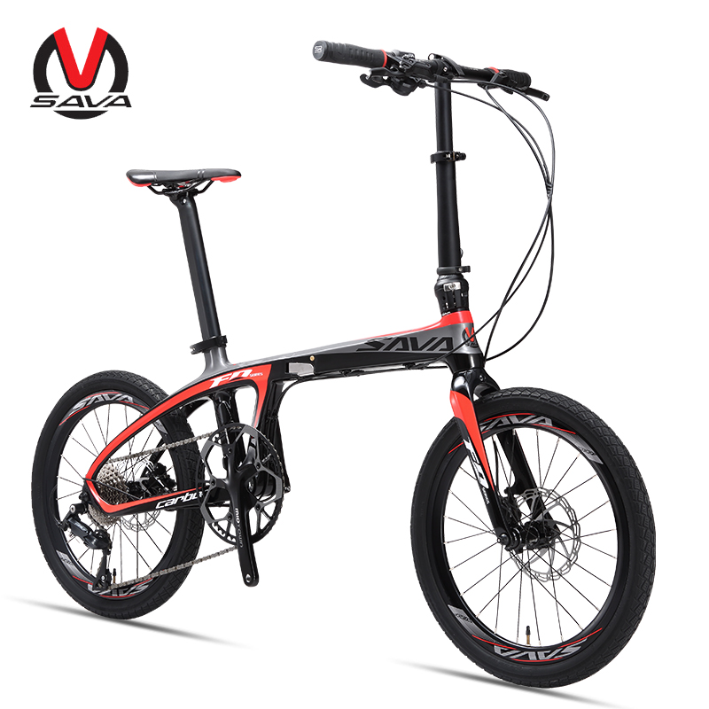 Folding Bike Folding Bicycle 20 inch SAVA Carbon Fiber Bike Foldable Mini Carbon Compact City Bike Folding with SHIMANO SORA 9s(China)