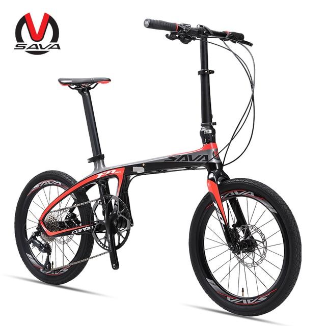 Folding Bike Folding Bicycle 20 inch SAVA Carbon Fiber Bike Foldable Mini Carbon Compact City Bike Folding with SHIMANO SORA 9s