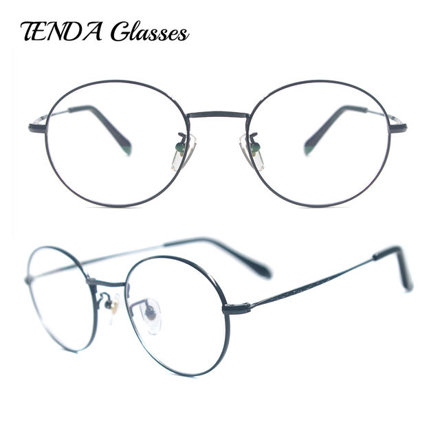 Pria Cahaya Ultra Murni Titanium Frame Kacamata Vintage Kacamata Bulat  Retro Kacamata Untuk Lensa Resep 4d369a5007