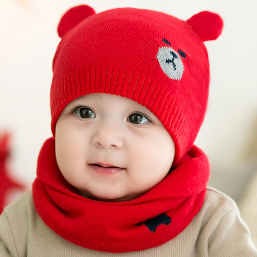 2pcs/set Scarf+Hat Winter Knitted Baby Hat Warm Lovely Bear Caps For Unisex Babies Toddler Caps 0-12 Months Baby Accessories hot unisex hospital medical caps surgical caps operation caps scrub lab clinic dental for doctor nurse100