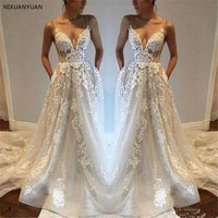 Lace Boho Wedding Dresses 2019 Spaghetti Straps V Neck Wedding Gowns Beach Bride Dress Vestido De Noiva