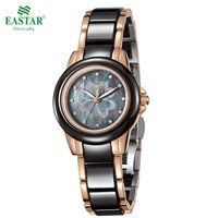 Eastar Elegant Women Quartz Watch Waterproof Fold Over Bracelet Clasp Astronomical Time Ceramic Stainless Steel