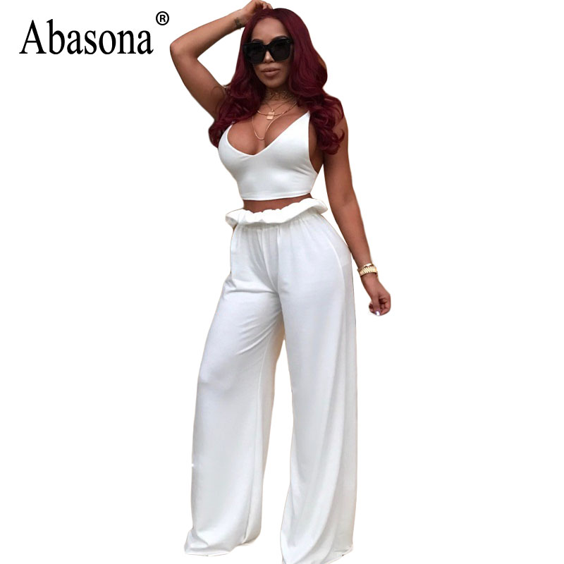 bc66acbdc695 Absaona White Wide Leg Jumpsuits Women Sleeveless Ruffles Casual Loose Two  Piece Set Sexy Party Club