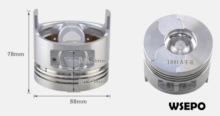 Chongqing Quality! Piston for 188FA 11HP Air Cooled 04 Stroke Diesel Engine,6KW~7KW Generator Parts