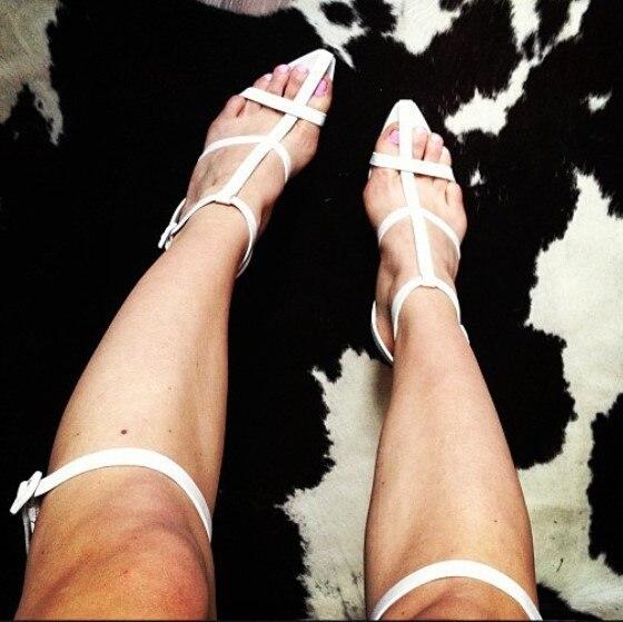 Elegant Celebrity Dress Shoes White Black Thick Heel Long Sandals Crisscross T-Bar Open Toe Lady Sandal Boots Size 42 plunge crisscross open back high slit maxi dress