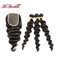 Peruvian Virgin Hair With Closure 3 Bundles Loose Wave With Closure Curly Human Annabelle Hair Products With Closure Bundle