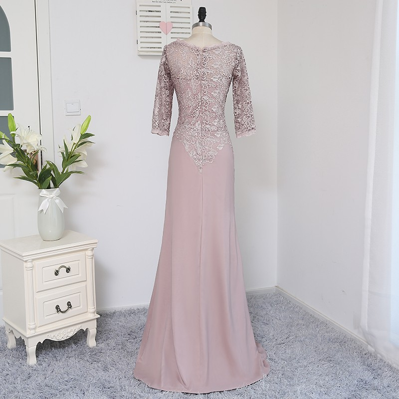 Plus Size Brown 2018 Mother Of The Bride Dresses A-line 3/4 Sleeves Chiffon Lace Wedding Party Dress Mother Dresses For Wedding 3