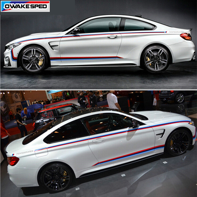 Tricolor Sport Waist Line Stripes Car Body Vinly Decals /// Performance Side Skirts Decor Sticker For BMW 4 series F32 M4|side skirt stickers|sticker for bmw|line sticker - title=