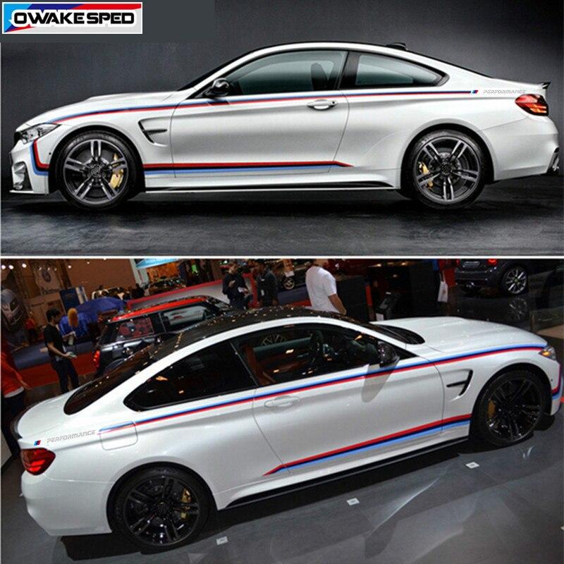 Tricolore Sport taille ligne rayures voiture carrosserie vinyle décalcomanies///Performance jupes latérales décor autocollant pour BMW série 4 F32 M4