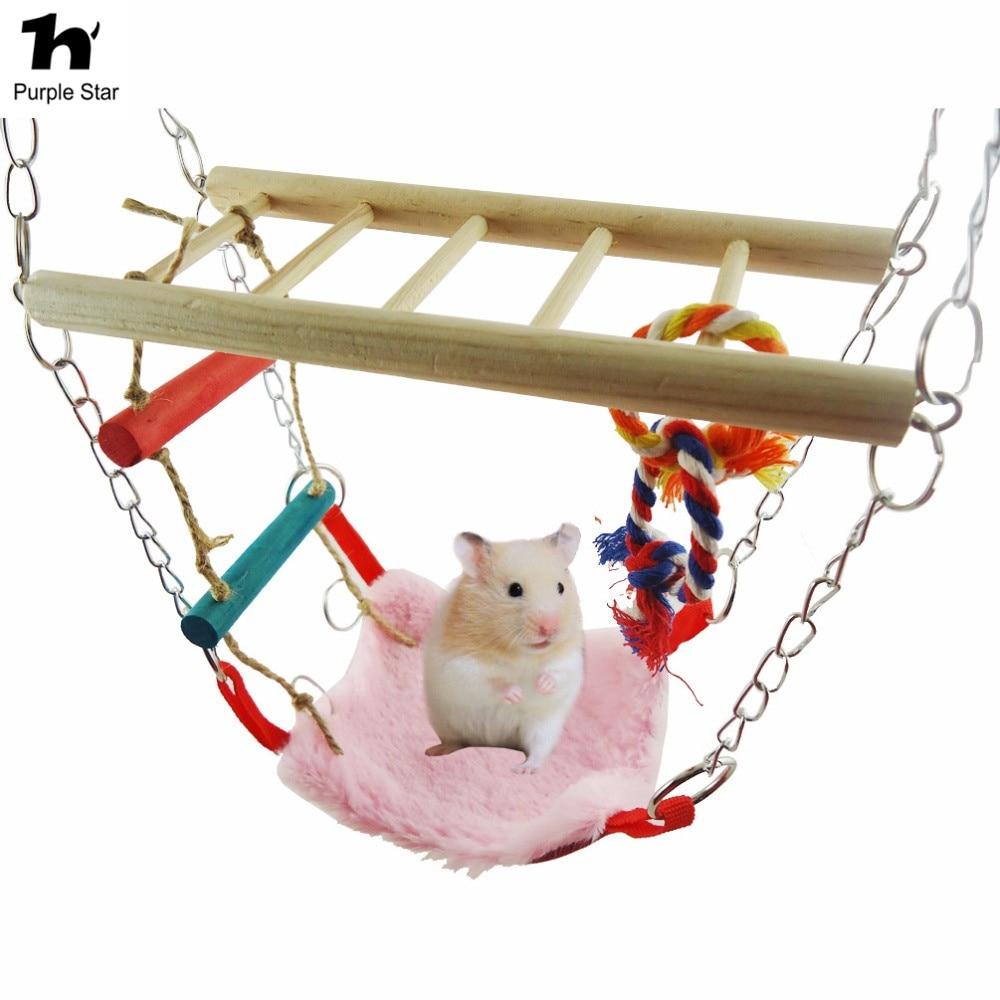 Romantisch Paars Ster Papegaai Vogel Speelgoed Opgeschort Kooien Nest Shed Swing Slaapkamer Hamster Eekhoorn Hangmat Hout Klimmen Ladder Pet Zitstokken