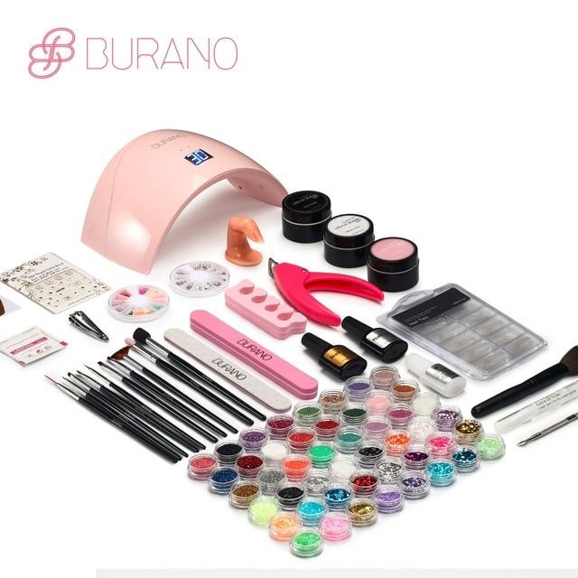 Burano Uv Led Lamp Manicure Set Nail Art Gel Kits Sets Tools Brush Tips Glue