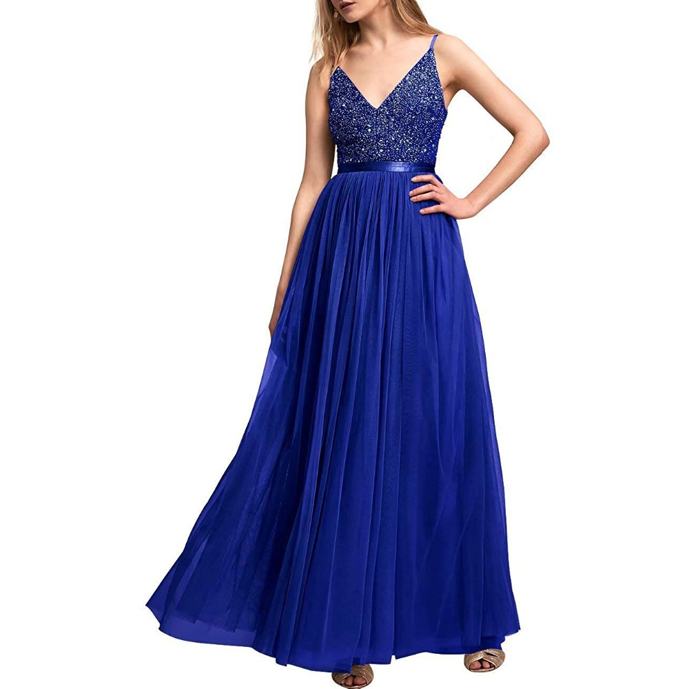 Beading V Neck Prom Dresses Tulle Spaghetti Strap Long Evening Dresses Formal Dresses Evening Gown vestidos largos