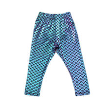 Kid Baby Girl Mermaid Fish Scale Leggings Stretchy Long Pants Pencil Trouser Blue Purple(China)