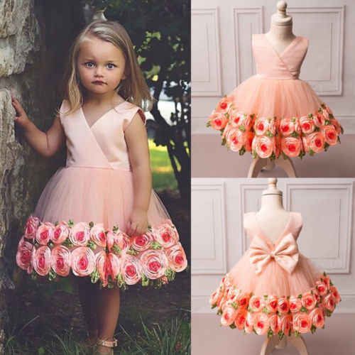 8efa07946 2019 New Style Girl Kid Lace Flower Bridesmaid Birthday Party Princess Prom  Wedding Rose Dress UK