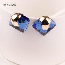 ZH.KH.ONG Fashion Female fine jewelry Geometric Square big Retro Blue Crystal Flower Stud Earrings For Women charm Earrings 76