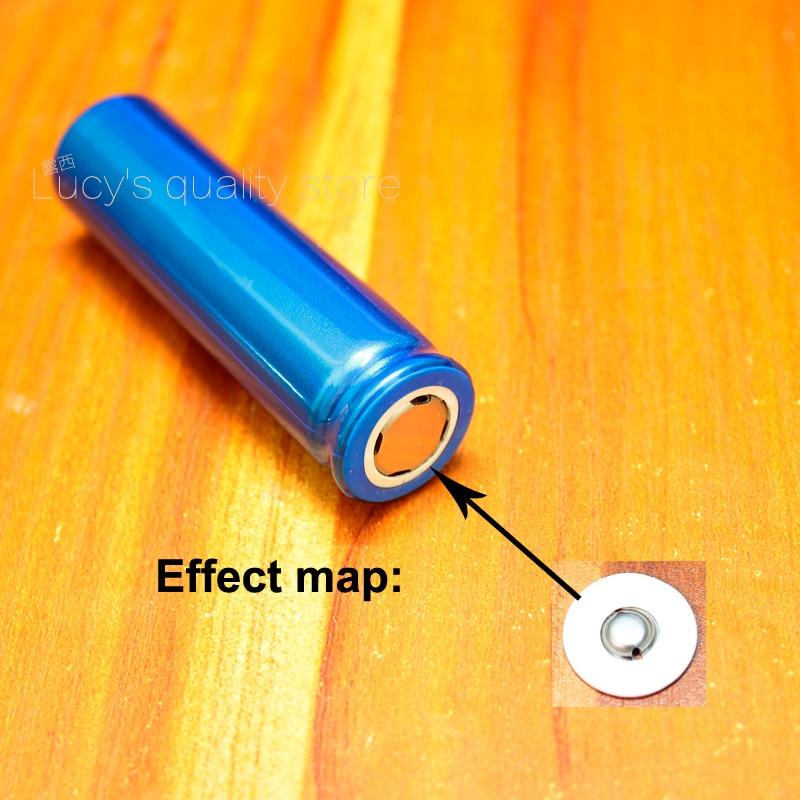 Купить с кэшбэком 100pcs/lot 18650 lithium battery positive spot welding tip cap 18650 battery flat head to change the tip cap folding machine