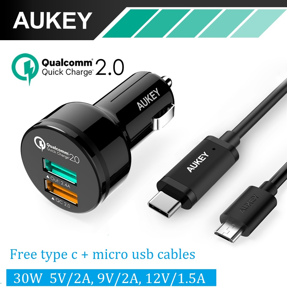 AUKEY Quick Charge Car <font><b>Charger</b></font> Dual USB Mobile <font><b>Phone</b></font> Car-<font><b>charger</b></font> adapter for iPhone Samsung s8 Xiaomi <font><b>Phone</b></font> <font><b>Charger</b></font> Type C cable