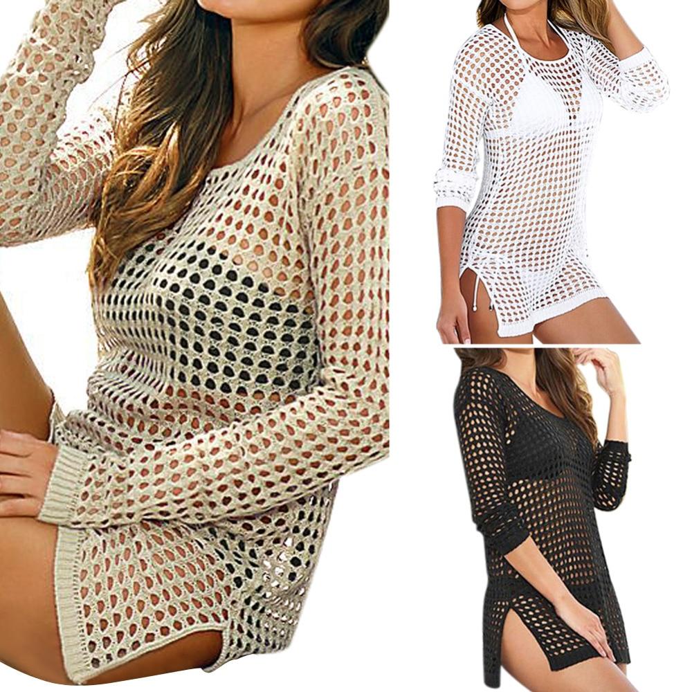 4c70514bf3a6a 2016 Brand New Summer Women Sexy Mesh Knitted Crochet Swimsuit Beach Cover  Up Swimwear Dress Bikini
