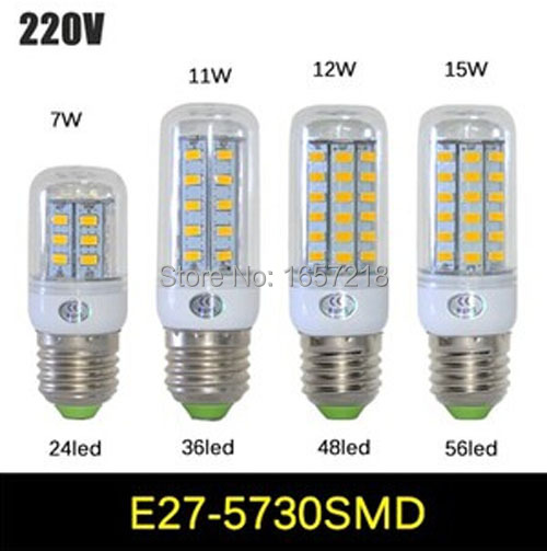 1pcs  NEW High Bright 7W 11W 12W 15W Wall LED Lamps E27 24/36/48/56 LEDs 220V High Quality 5730 SMD Corn LED Bulb Ceiling Light