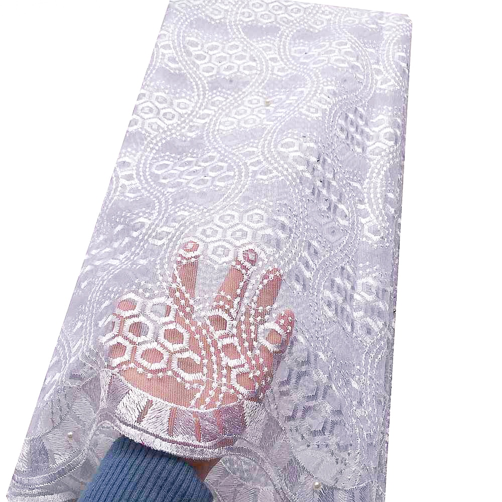 Nigeria Fashion African Tulle Lace Fabric Nigerian Lace Fabrics 2019 Lilac White Africa Net Embroidery Beads Lace Fabric in Lace from Home Garden