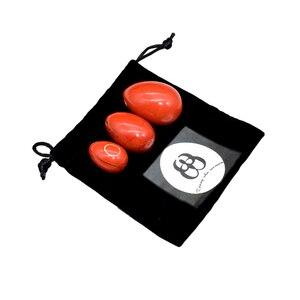 Image 2 - 3 pièces naturel rouge Jasper Yoni oeuf Massage pierre Jade oeufs pour les femmes Kegel exercice rétrécissement des muscles vaginaux Ben Wa balle