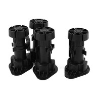 4pcs Black Adjustable Height Cabinet Cupboard Leg Foot For Kitchen Bathroom