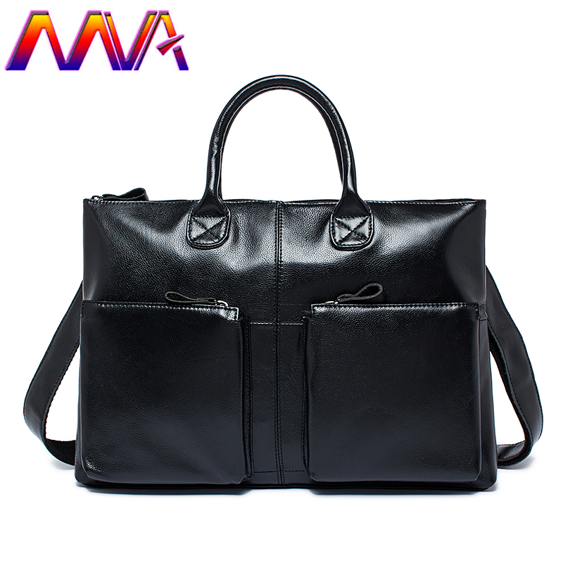 MVA Newly genuine leather laptop shoulder bag with quality cow leather men briefcase for fashion business men computer bags стоимость