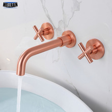 цена на 100% Solid Brass Black Double Handles Bathroom Faucet Wall Mounted Basin Tap Brushed Gold & Rose & Chrome Bathtub Water Mixer