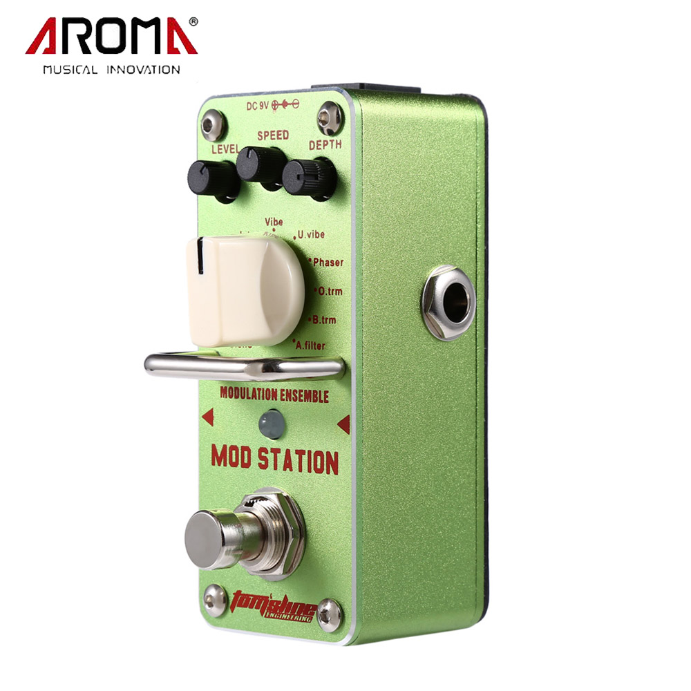 AROMA AMS-3 Mod Station Modulation Ensemble Electric Guitar Effect Pedal Mini Single Effect with True Bypass mooer ensemble queen bass chorus effect pedal mini guitar effects true bypass with free connector and footswitch topper