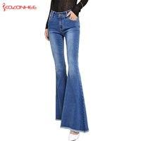 KOZONHEE ארוך נשים ג 'ינס מתיחת מתיחת מתרחב ג' ינס אבוקה בנות מכנסי ג 'ינס לנשים גודל גדול